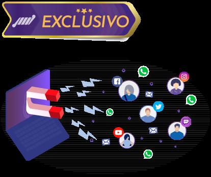 tv com ima puxando pessoas e logo de redes sociais player de streaming personalizado com captura de whatsapp email