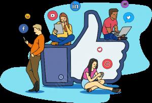 pessoas assistindo descomplique logo redes sociais simultaneas instagram facebook linkedin youtube twitter twitch tv 300x204