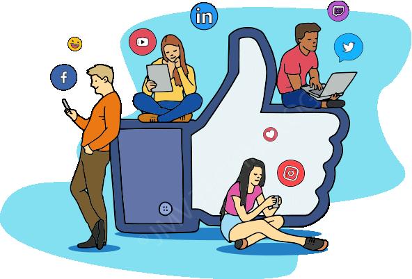pessoas assistindo descomplique logo redes sociais simultaneas instagram facebook linkedin youtube twitter twitch tv