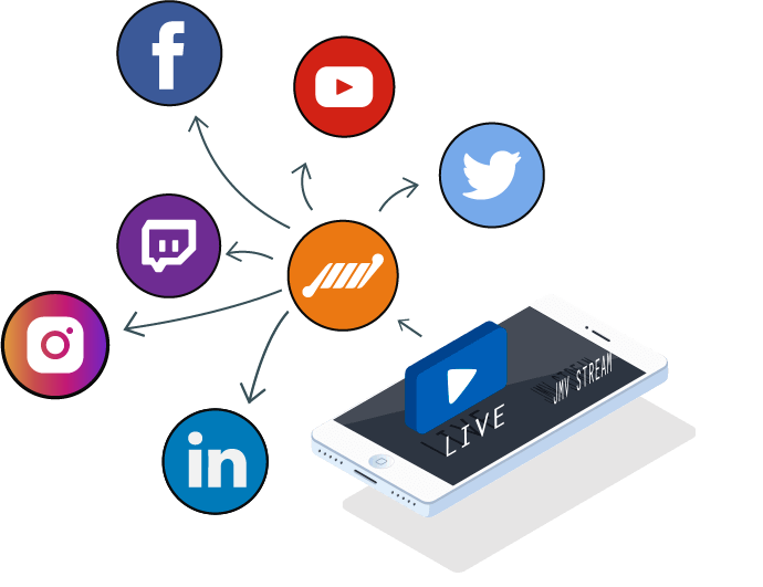transmissao simultanea para todas as redes sociais instagram facebook linkedin youtube twitter twitch tv streaming de video para eventos