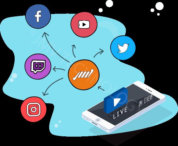 descomplique smartphone com logos redes sociais instagram facebook youtube twitter twitch tv transmita em todas as redes ao mesmo tempo