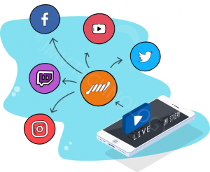 transmissao simultanea para todas as redes sociais instagram facebook linkedin youtube twitter twitch tv streaming de video 300x246