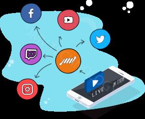 transmita em todas as redes ao mesmo tempo smartphone com logos redes sociais instagram facebook youtube twitter twitch tv tranmissao para eventos 300x246
